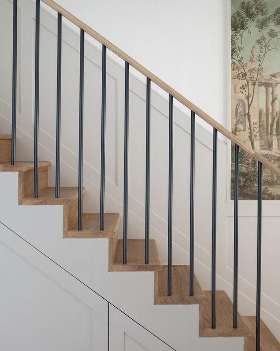 cau thang sat op bac go dep 2 - #55 Mẫu cầu thang sắt đẹp [thích hợp] không gian nhà ở.