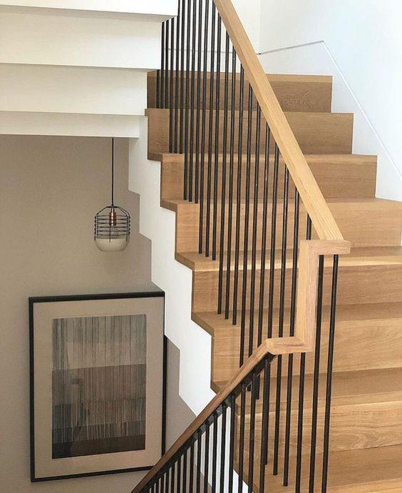 cau thang sat op bac go dep 8 - #55 Mẫu cầu thang sắt đẹp [thích hợp] mọi không gian nhà ở.