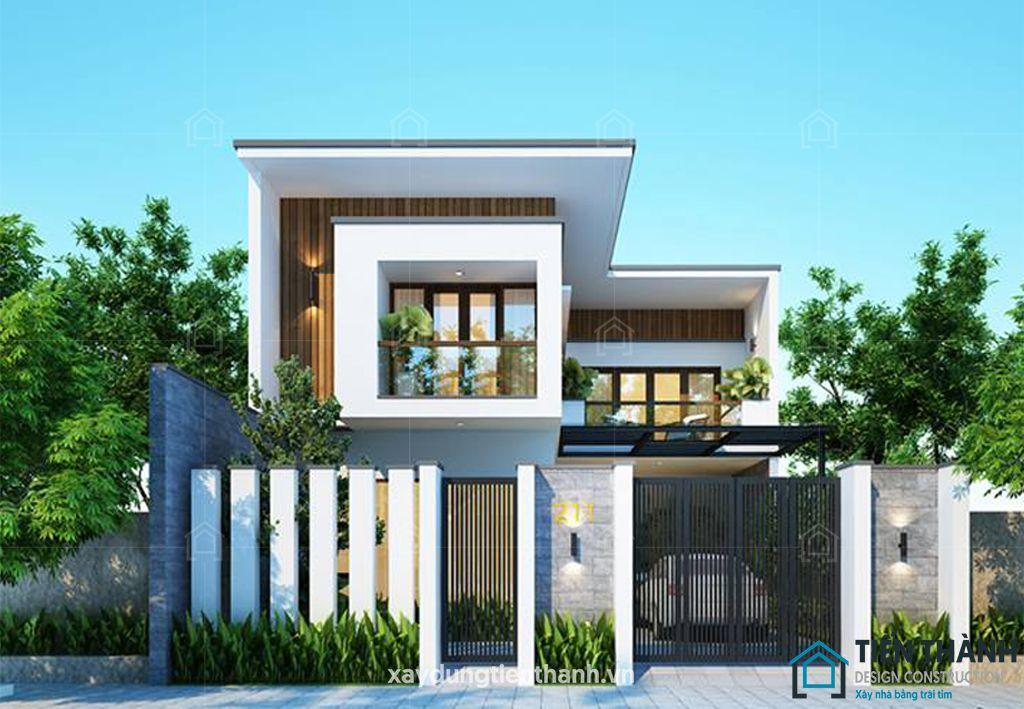 mau nha 2 tang mai bang chu l 1 - #25 Mẫu nhà 2 tầng mái bằng hiện đại [đẹp] năm 2020
