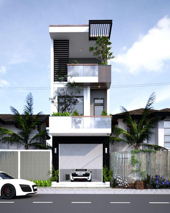mau nha 3 tang dep hien dai 4 - #35 mẫu nhà 3 tầng đẹp khát khao nhất tại TPHCM năm 2020