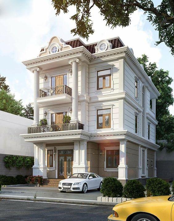 mau nha 3 tang tan co dien 2 - #35 mẫu nhà 3 tầng đẹp khát khao nhất tại TPHCM năm 2020