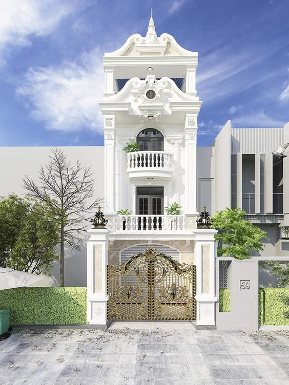 mau nha 3 tang tan co dien 8 - #35 mẫu nhà 3 tầng đẹp khát khao nhất tại TPHCM năm 2020