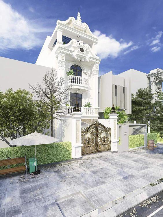mau nha 3 tang tan co dien 9 - #35 mẫu nhà 3 tầng đẹp khát khao nhất tại TPHCM năm 2020