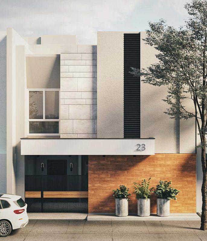 mau nha vuong 2 tang mai bang 3 686x800 - #25 Mẫu nhà 2 tầng mái bằng hiện đại [đẹp] năm 2020