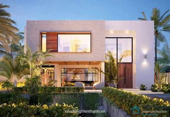 nha 2 tang mai bang hien dai 578x400 - #25 Mẫu nhà 2 tầng mái bằng hiện đại [đẹp] năm 2020