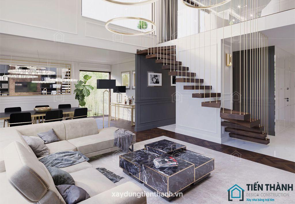 phong khach dep co cau thang 1 - #33 Mẫu phòng khách đẹp [khao khát] nhất năm 2021 tại TPHCM