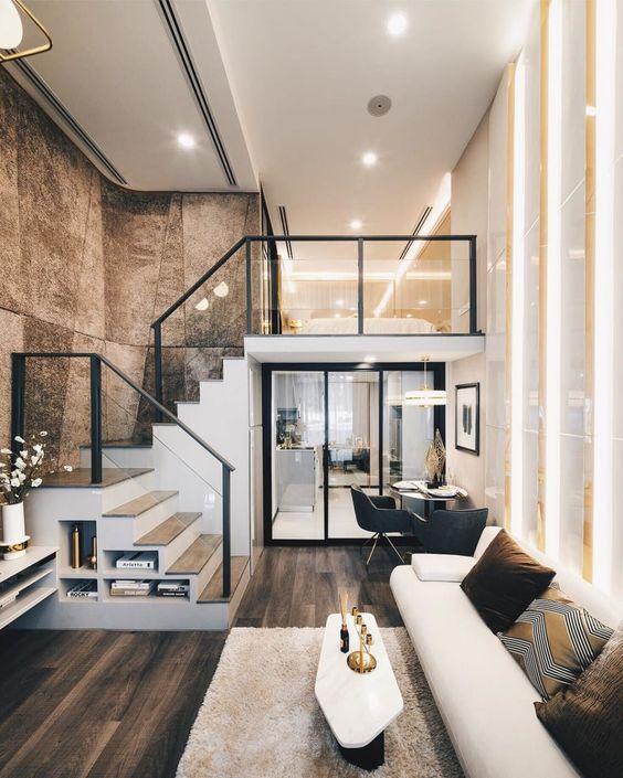 phong khach dep co cau thang 4 - #33 Mẫu phòng khách đẹp [khao khát] nhất năm 2021 tại TPHCM