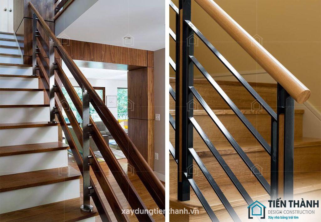 cau thang go sat dep 2 - #29 Mẫu cầu thang gỗđẹp 2020 ưa chuộng HOT nhất tại TPHCM