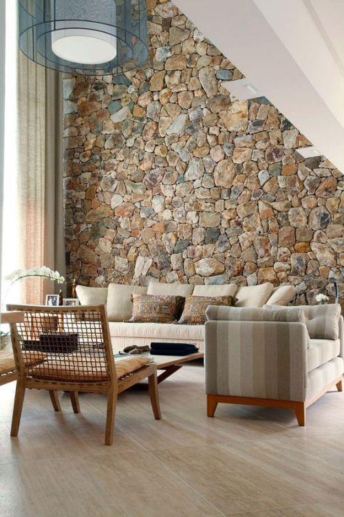 da che tu nhien op tuong phong khach 3 - Trang trí đá chẻ tự nhiên ốp tường đẹp cho không gian nhà ở