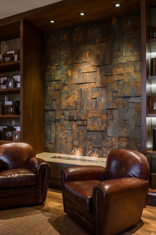 da che tu nhien op tuong phong khach 4 534x800 - Trang trí đá chẻ tự nhiên ốp tường đẹp cho không gian nhà ở