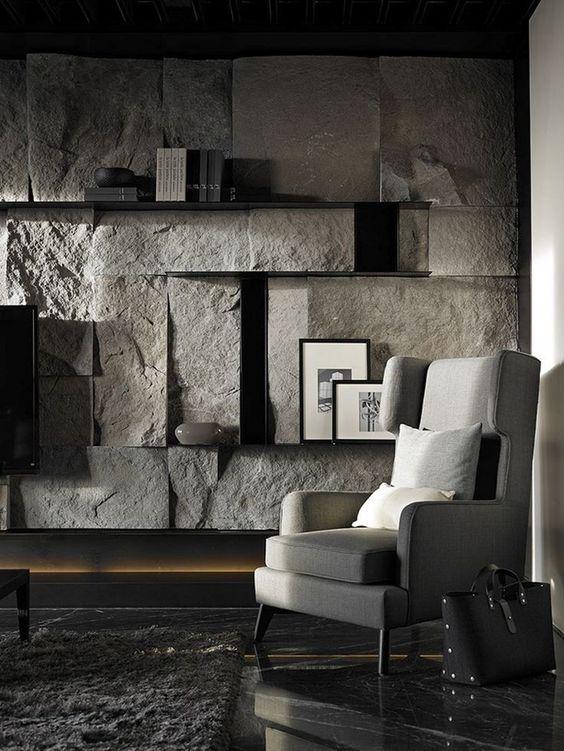 da che tu nhien op tuong phong khach 6 - Trang trí đá chẻ tự nhiên ốp tường đẹp cho không gian nhà ở