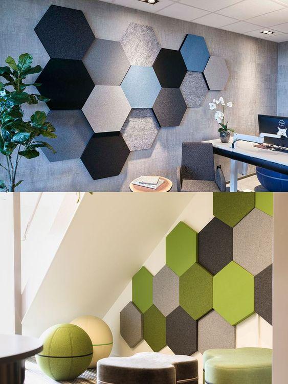 gach luc giac op tuong phong khach 1 - Gạch lục giác ốp tường ứng dụng vào không gian trong ngôi nhà đẹp