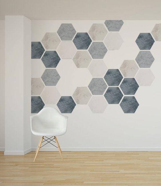 gach luc giac op tuong phong khach 2 - Gạch lục giác ốp tường ứng dụng vào không gian trong ngôi nhà đẹp