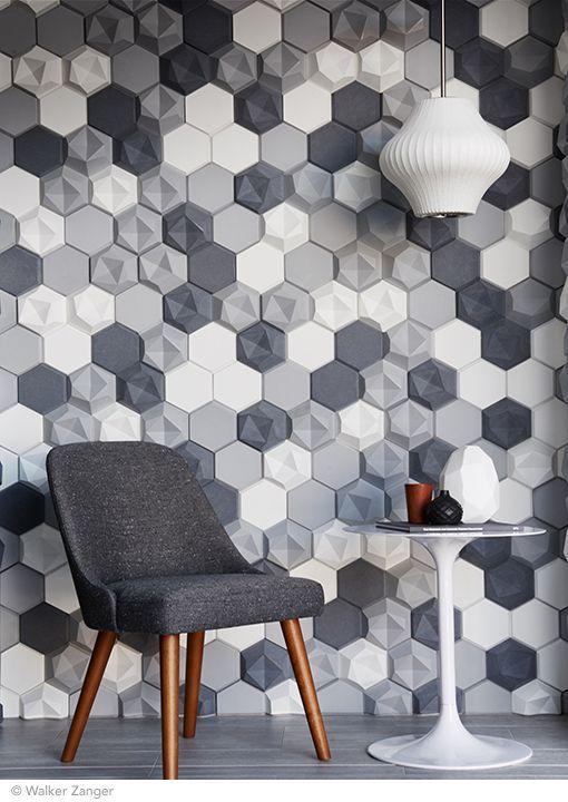 gach luc giac op tuong phong khach 3 - Gạch lục giác ốp tường ứng dụng vào không gian trong ngôi nhà đẹp