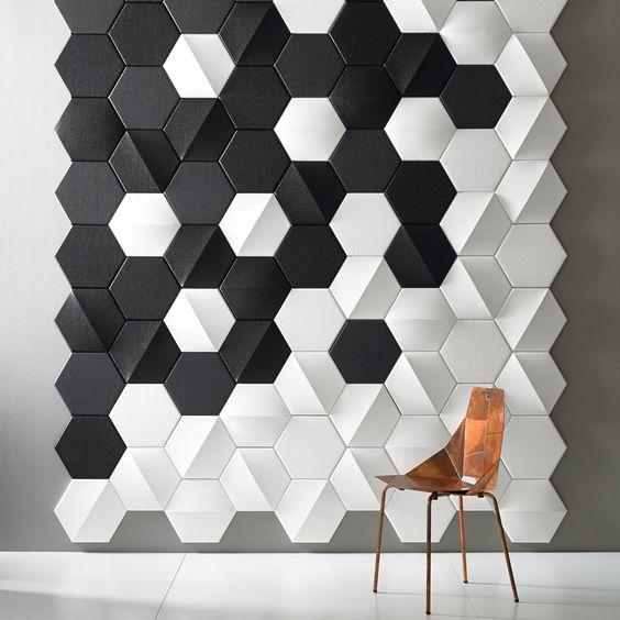 gach luc giac op tuong phong khach 6 - Gạch lục giác ốp tường ứng dụng vào không gian trong ngôi nhà đẹp