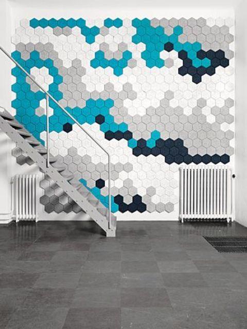 gach luc giac op tuong phong khach 7 - Gạch lục giác ốp tường ứng dụng vào không gian trong ngôi nhà đẹp