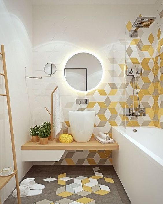 gach luc giac op tuong phong ve sinh toilet 10 - Gạch lục giác ốp tường ứng dụng vào không gian trong ngôi nhà đẹp