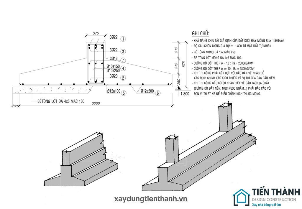 ket cau mong nha 3 tang - Kết cấu móng băng nhà 3 tầng vững chắc khi sử dụng lâu dài