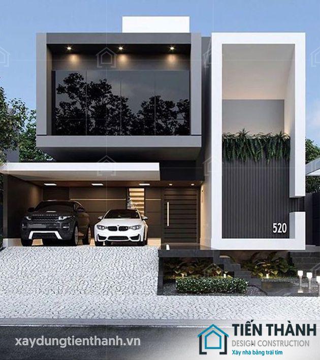 thiet ke nha mat tien 8m sau 5m 2 tang 1 - Thiết kế nhà mặt tiền 8m sâu 5m hiện đại, tiện nghi