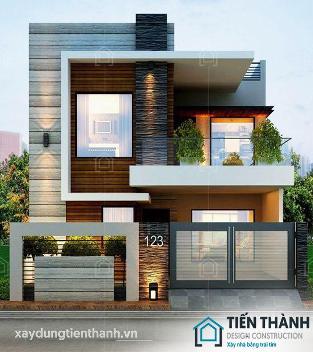 thiet ke nha mat tien 8m sau 5m 2 tang 2 - Thiết kế nhà mặt tiền 8m sâu 5m hiện đại, tiện nghi