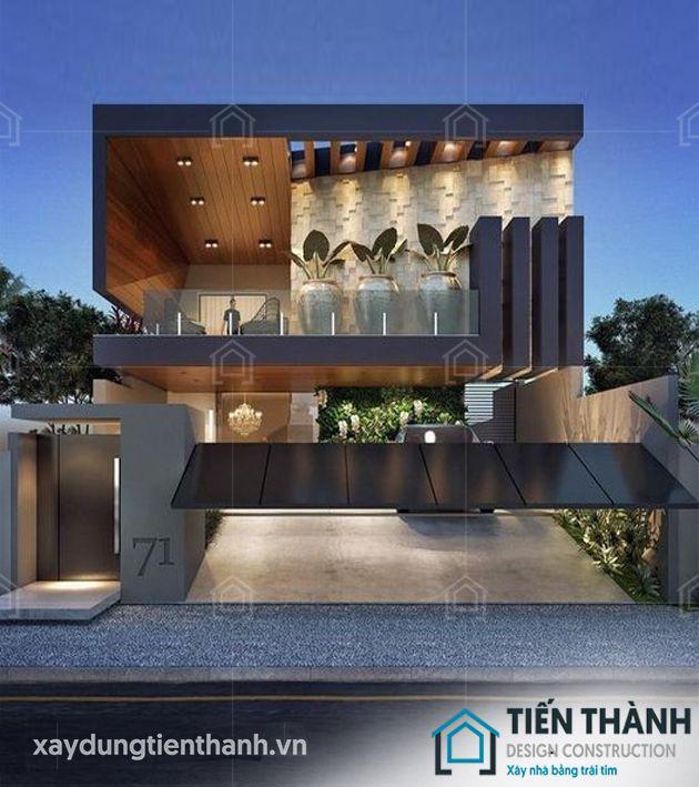 thiet ke nha mat tien 8m sau 5m 2 tang 3 - Thiết kế nhà mặt tiền 8m sâu 5m hiện đại, tiện nghi