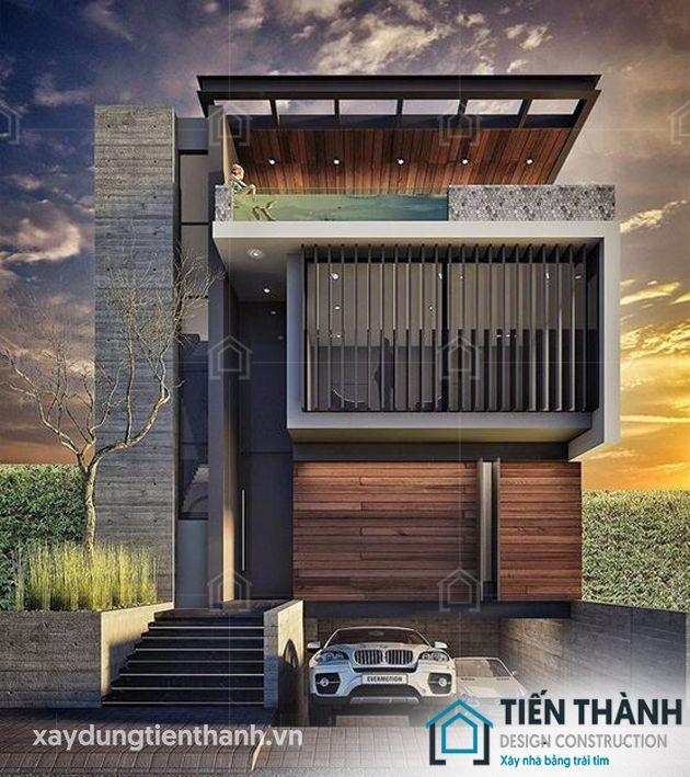thiet ke nha mat tien 8m sau 5m 3 tang 2 - Thiết kế nhà mặt tiền 8m sâu 5m hiện đại, tiện nghi