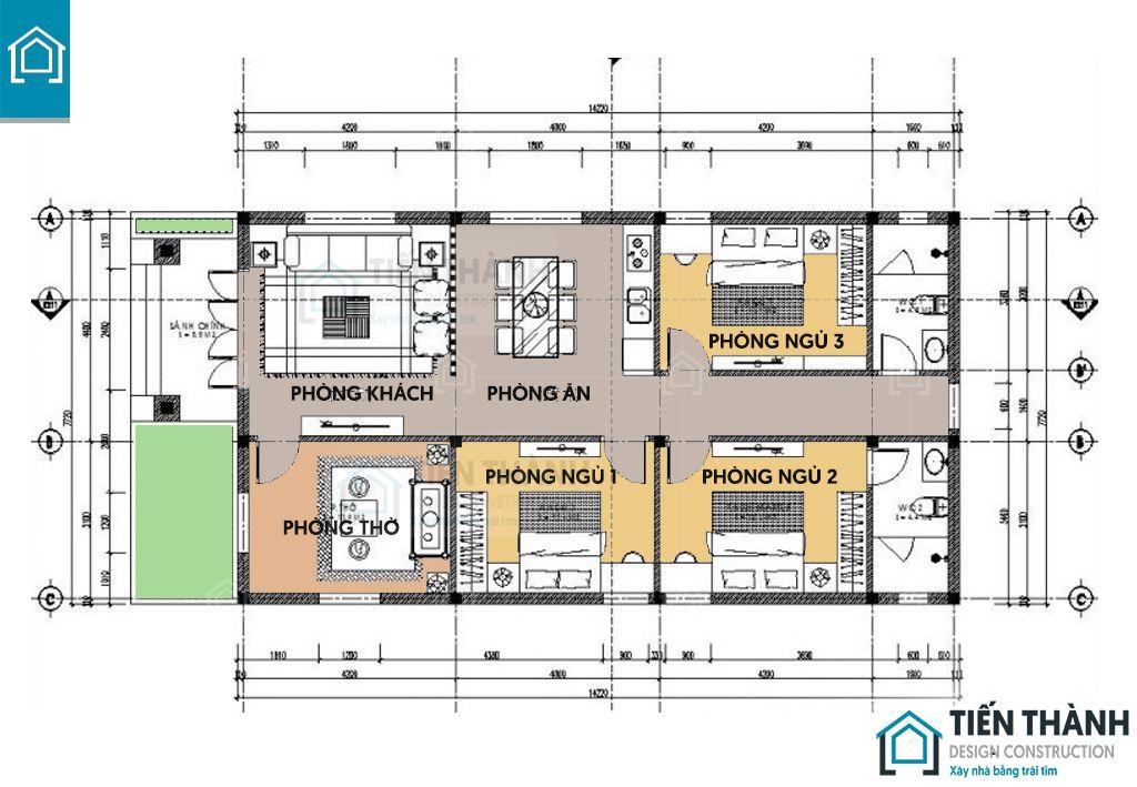 ban ve nha cap 4 3 phong ngu 1 - Tham khảo bản vẽ nhà cấp 4 3 phòng ngủ chi tiết 2020