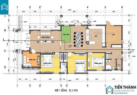ban ve nha cap 4 3 phong ngu a 578x400 - Tham khảo bản vẽ nhà cấp 4 3 phòng ngủ chi tiết 2020