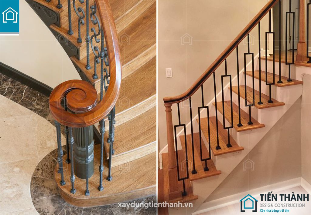 cau thang sat op bac go dep 11 - #55 Mẫu cầu thang sắt đẹp [thích hợp] mọi không gian nhà ở.