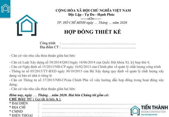 hop dong thiet ke nha o gia dinh 578x400 - Mẫu hợp đồng thiết kế nhà ở gia đình năm 2020 Tiến Thành