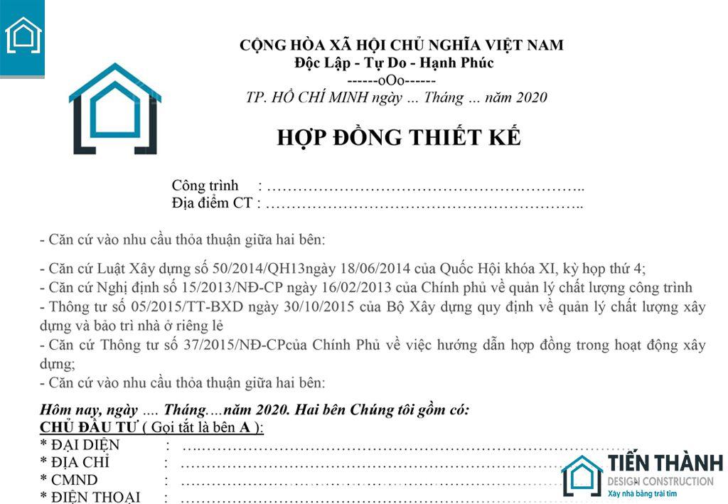 hop dong thiet ke nha o gia dinh - Mẫu hợp đồng thiết kế nhà ở gia đình năm 2020 Tiến Thành