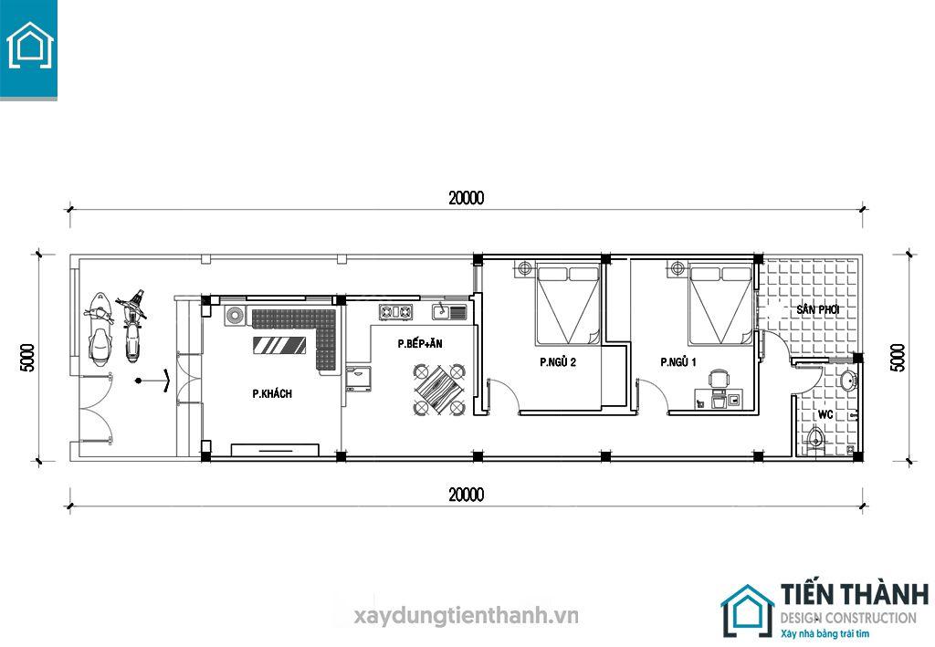 ban ve cad nha cap 4 5x20m 3 - Bản vẽ cad nhà cấp 4 5x20m công năng hoàn hảo năm 2020