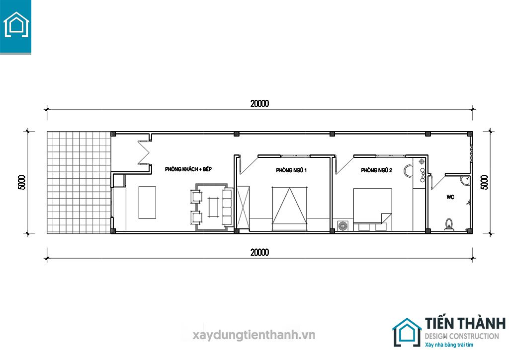 ban ve cad nha cap 4 5x20m 5 - Bản vẽ cad nhà cấp 4 5x20m công năng hoàn hảo năm 2020