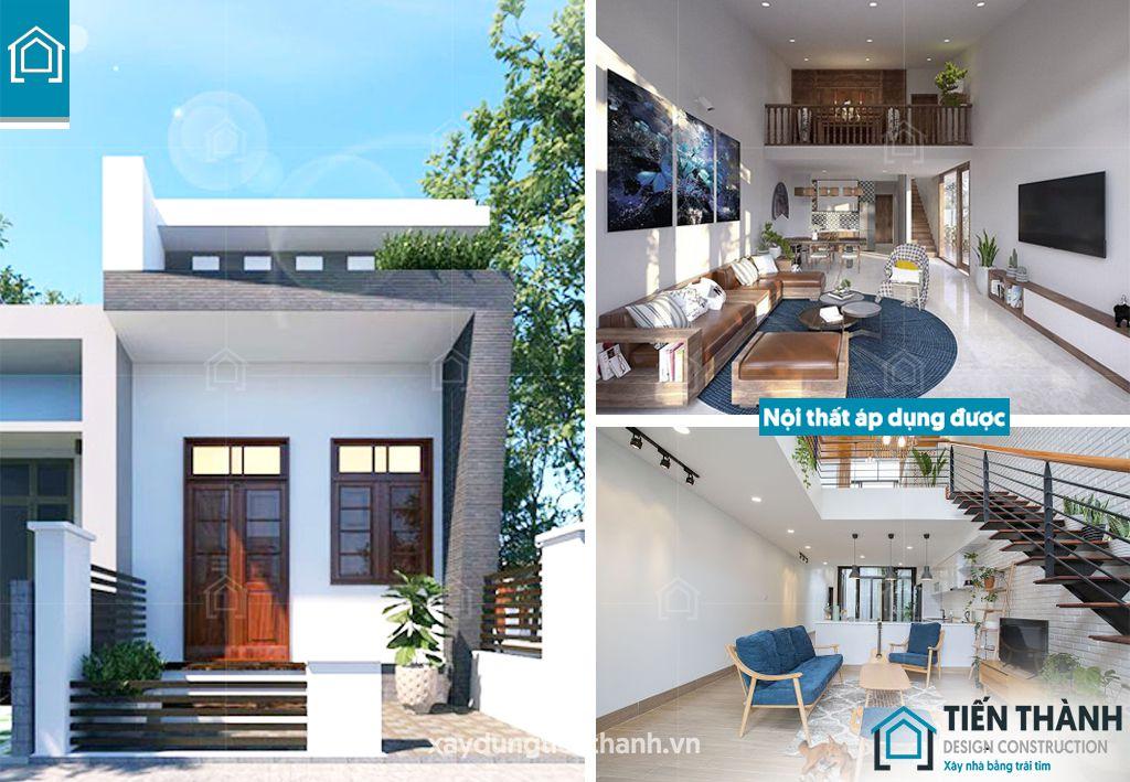 mau nha cap 4 co gac lung 5x20 gia re 4 1 - Những ngôi nhà cấp 4 đẹp nhất hiện đại ở Việt Nam năm 2020
