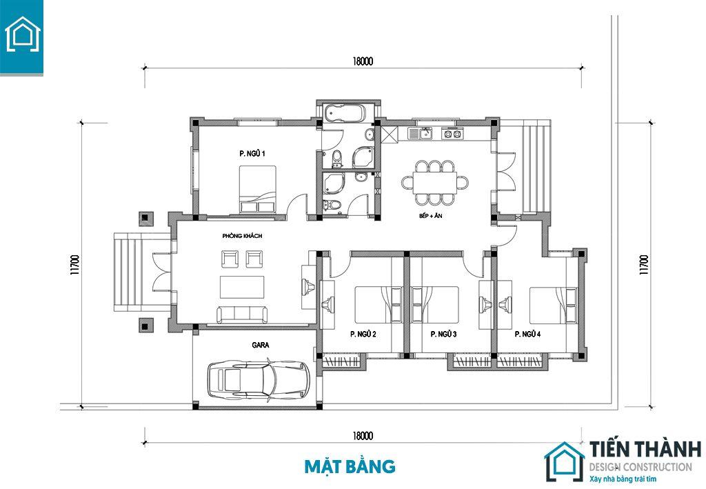 nha cap 4 4 phong ngu 4 - Mẫu nhà cấp 4 4 phòng ngủ đẹp tiện nghi hoàn hảo năm 2020