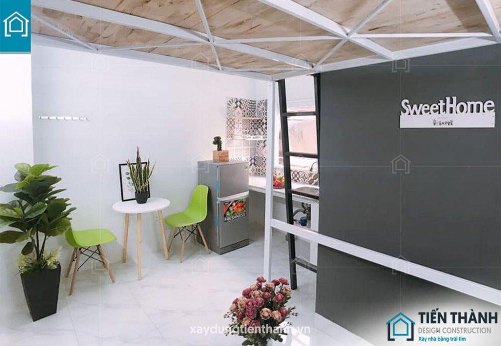 thiet ke phong tro co gac lung 12m2 1 - Mẫu thiết kế phòng trọ có gác lửng đẹp năm 2021